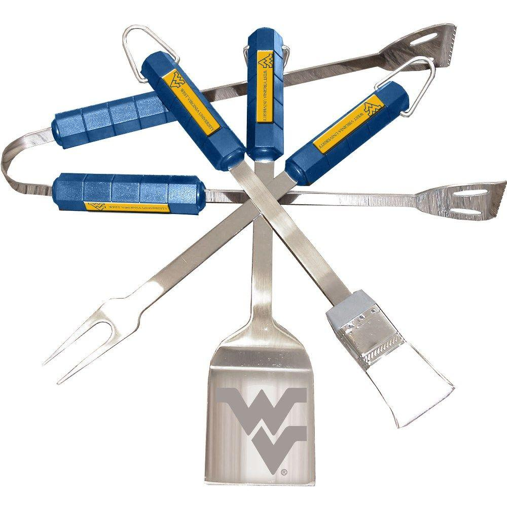 BSI Products NCAA West Virginia Mountaineers 4-Piece Grill Tool Set-61012 -
