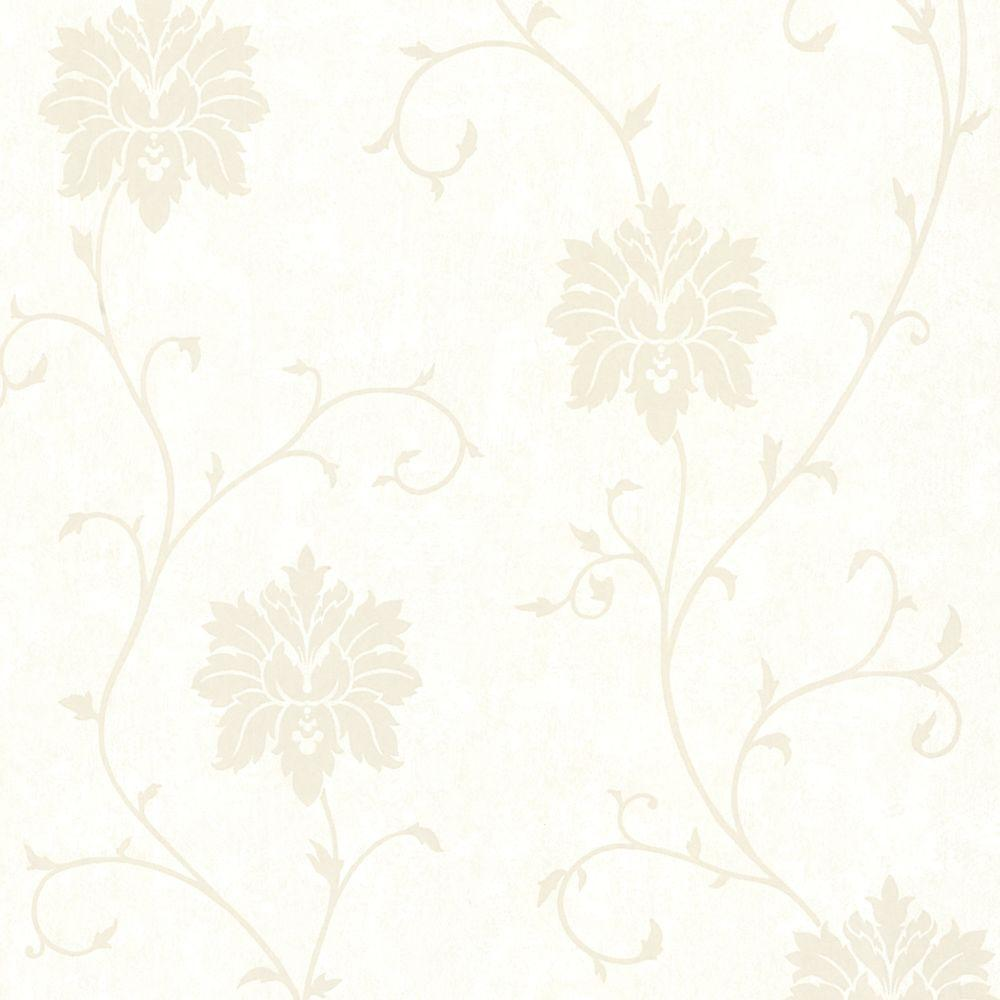 56 sq. ft. Dahli White Floral Trail Wallpaper