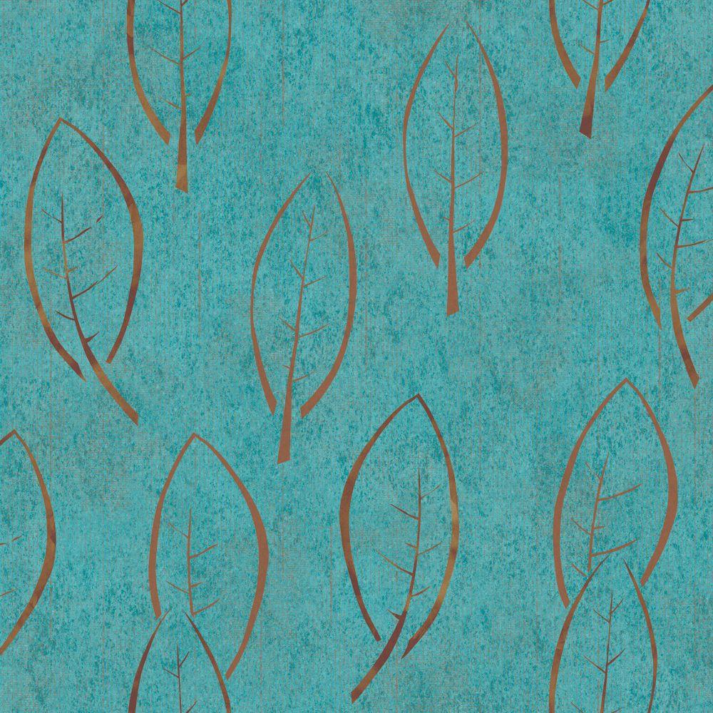 The Wallpaper Company 8 in. x 10 in. Teal Large Scale Modern Spot Leaf on a Textural Ground Wallpaper Sample