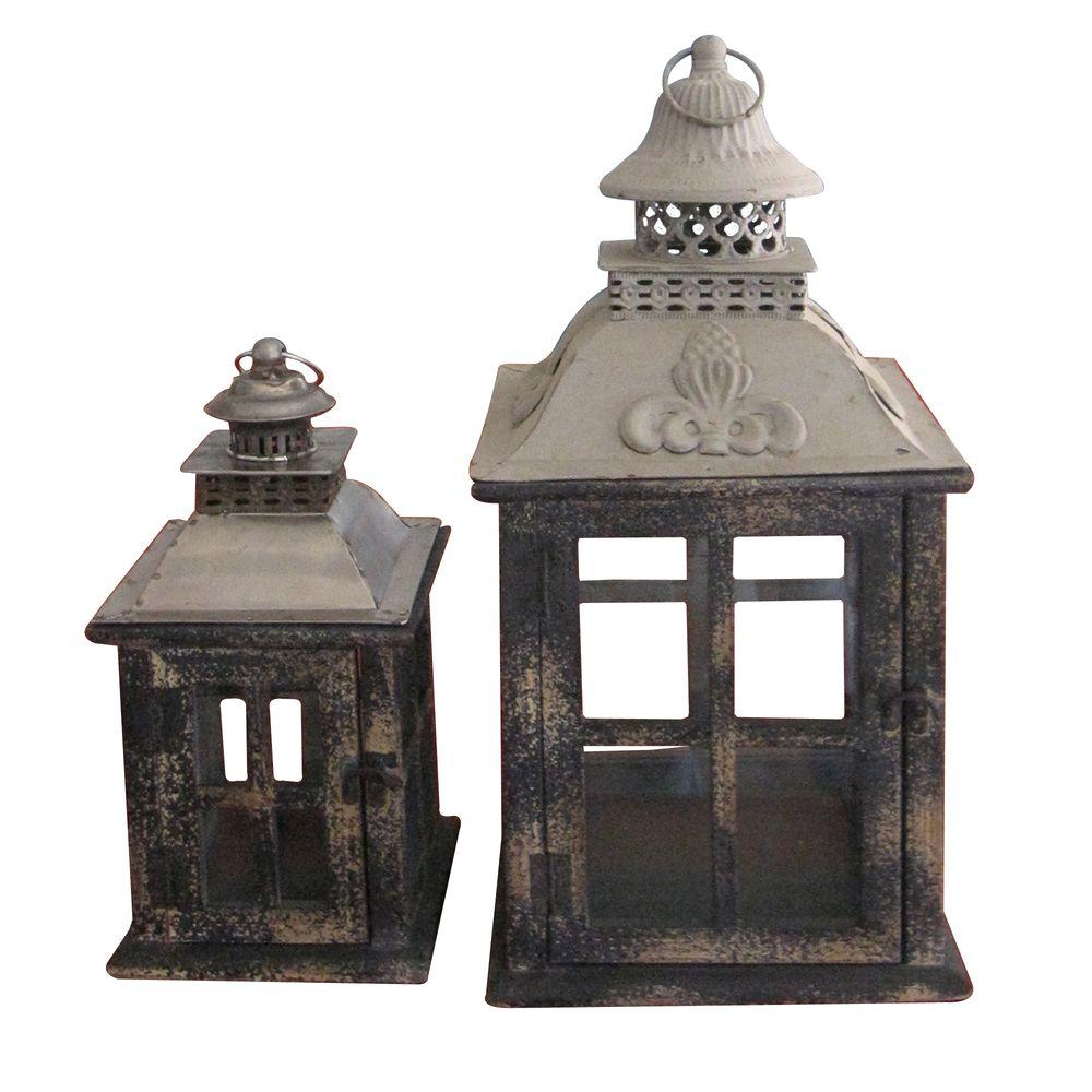 null Square Distressed Black Wooden Battery-Powered Candle Lantern (Set of 2)-DISCONTINUED