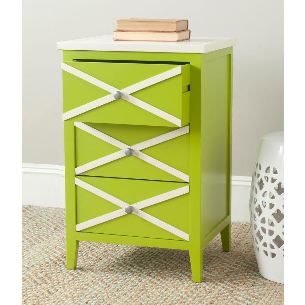 Safavieh Sherrilyn Lime Green/White Side Table with 3 Drawer-AMH6592C - The