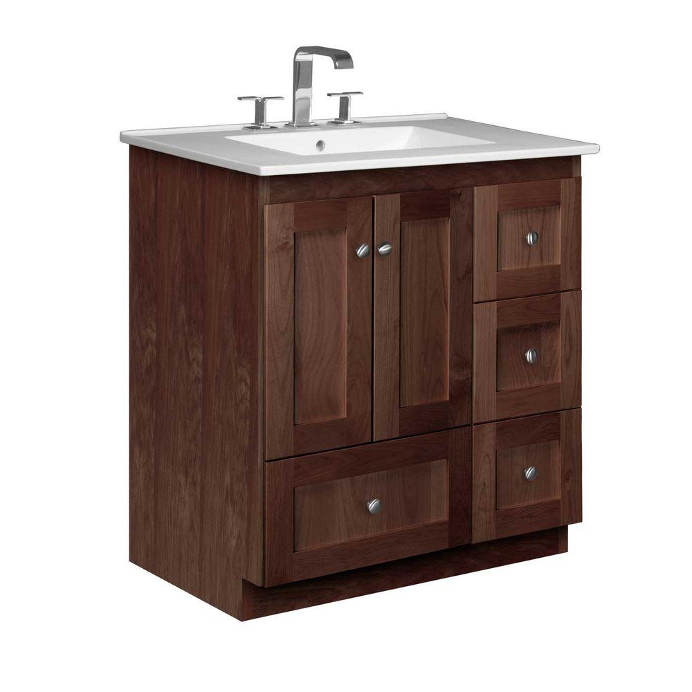 Simplicity by Strasser Shaker 31 in. W x 22 in. D x 35 in. H Vanity with Right Drawers in Dark Alder with Ceramic Vanity Top in White