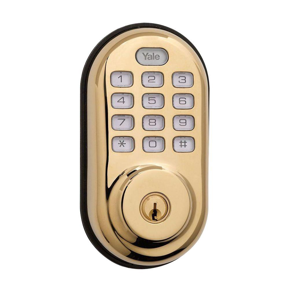 Yale Real Living Push Button Polished Brass Deadbolt-084002 - The Home