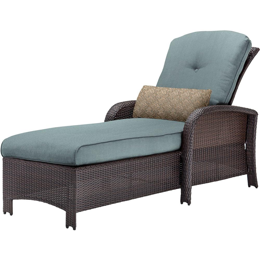 Cambridge Corolla Wicker Outdoor Chaise Lounge with Red Cushions