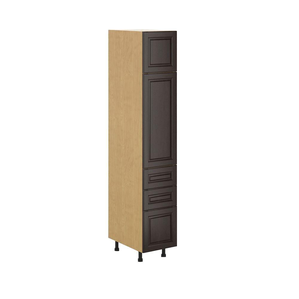 Ready to Assemble 15x83.5x24.5 in. Naples 3-Drawer Pantry Cabinet in Maple Melamine and Door in Dark Brown, Melamine Maple