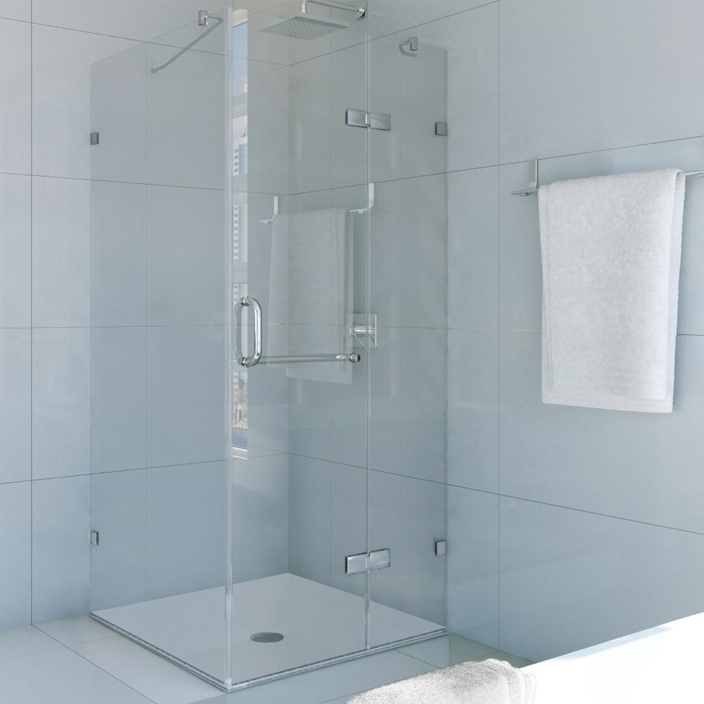 Vigo Monteray 30.25. x 73.375 in. Frameless Pivot Shower Enclosure in Brushed Nickel with Clear Glass