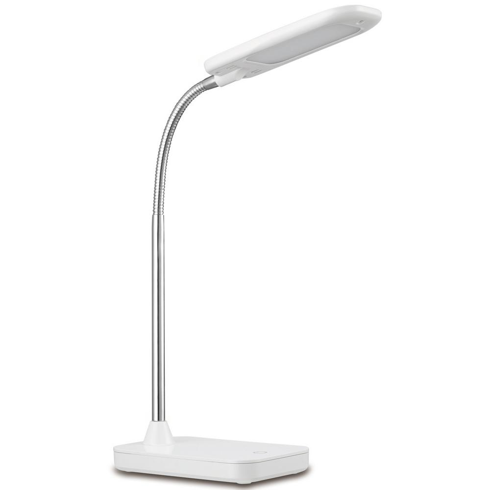 14 in. White and Chrome Integrated LED Desk Lamp