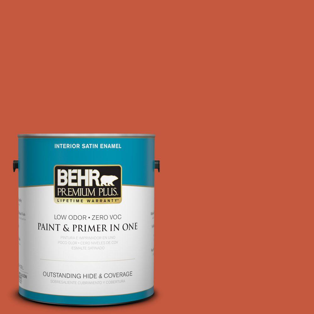 1-gal. #BIC-31 Fire Coral Satin Enamel Interior Paint