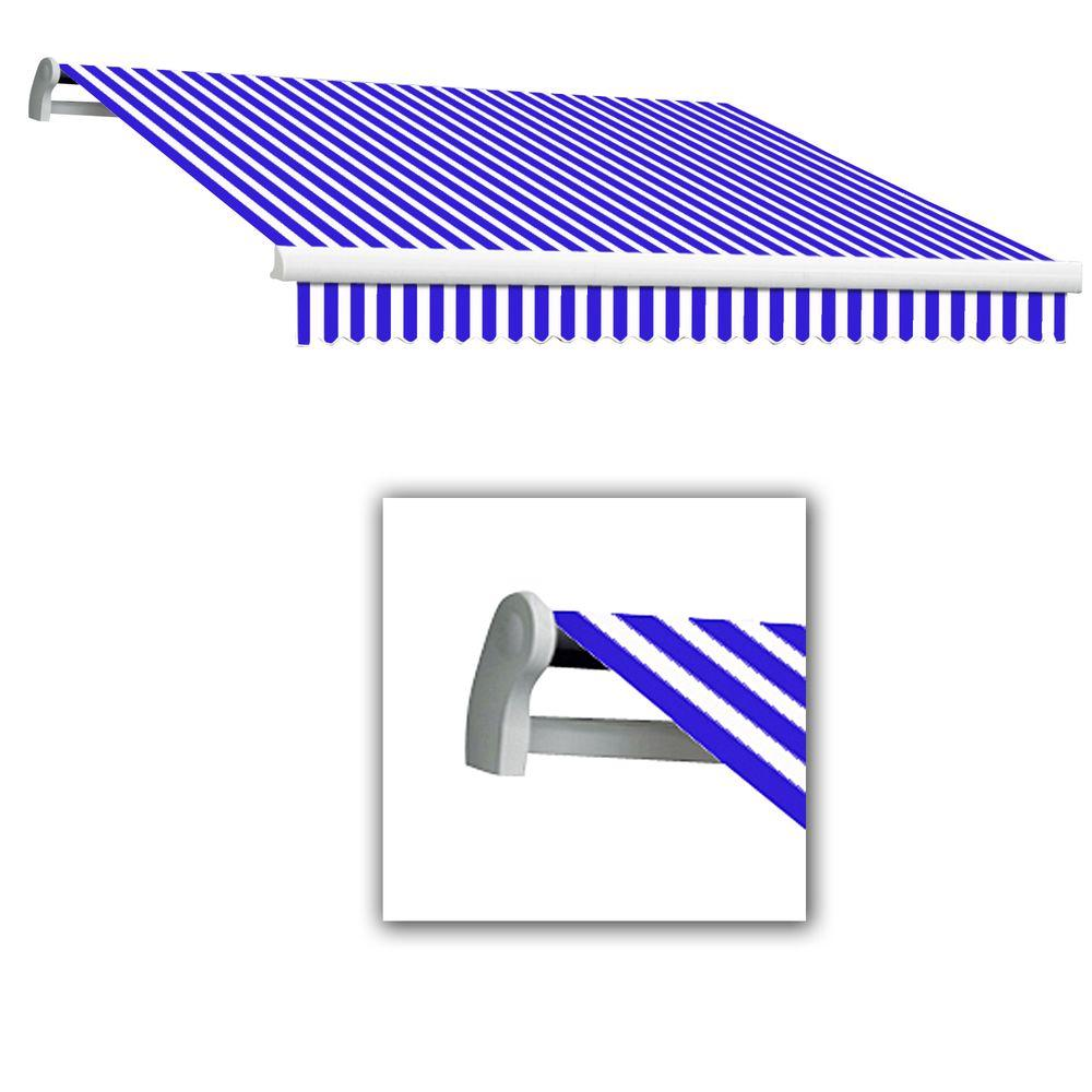 AWNTECH 12 ft. Maui-LX Left Motor Retractable Acrylic Awning with Remote (120 in. Projection) in Blue/White
