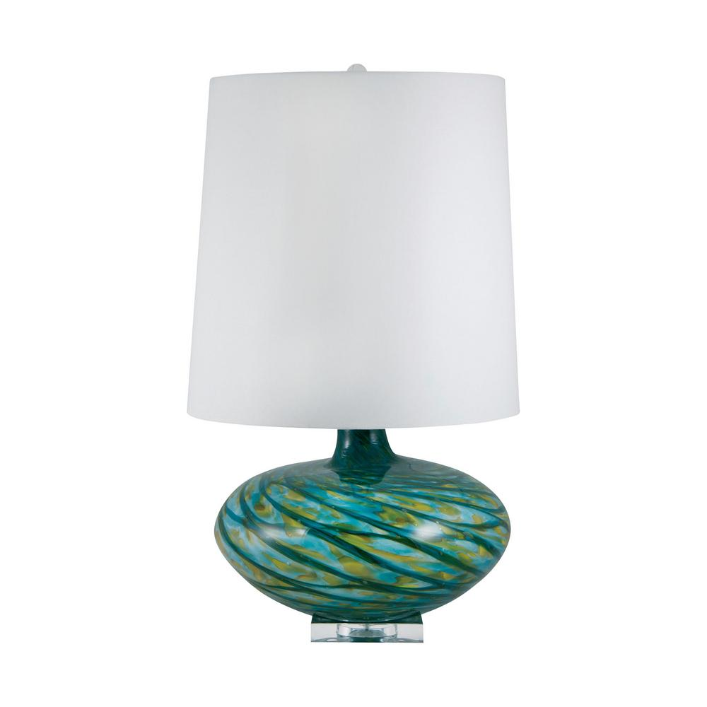 Big Bang 29 in. Blown Glass in Blue Swirl Table Lamp