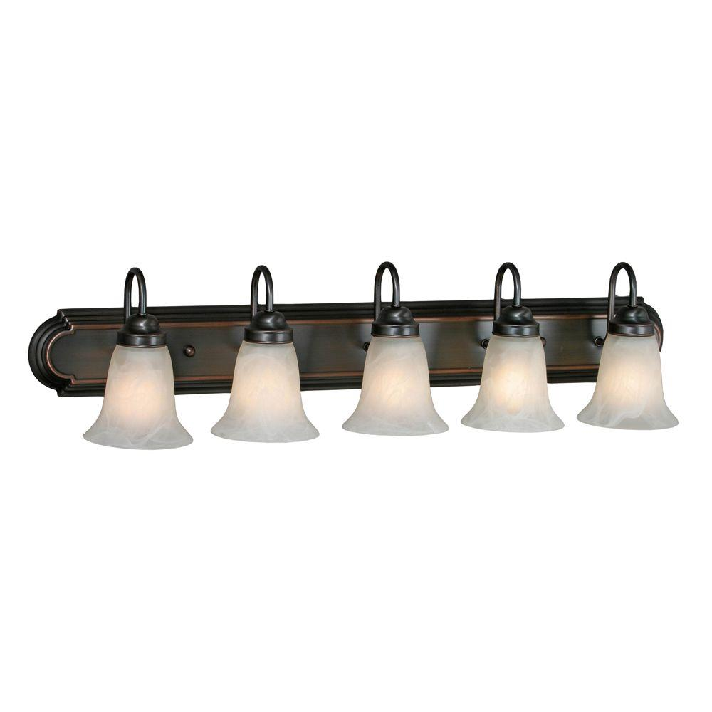 null Yvonne Collection 5-Light Oil-Rubbed Bronze Vanity Light