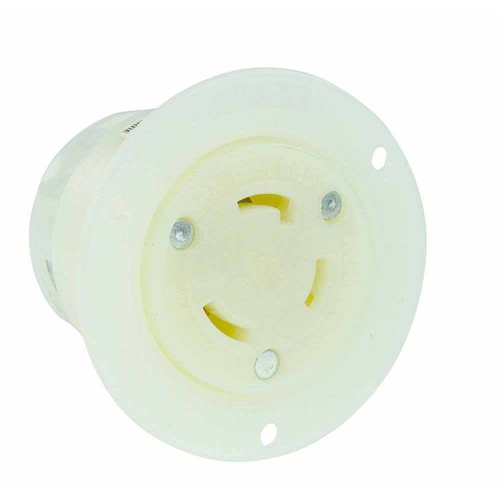 30 Amp 125-Volt Flanged Outlet Grounding Locking Receptacle, White
