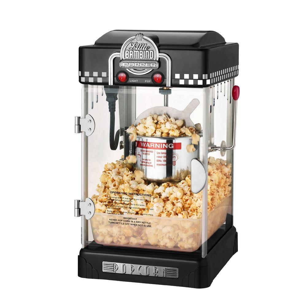 Great Northern Little Bambino 2-1/2 oz. Table Top Retro Style Black Popcorn Popper