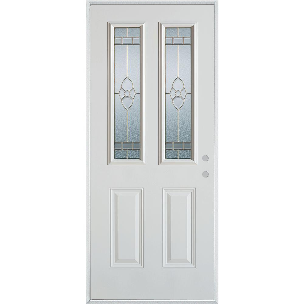 32 in. x 80 in. Traditional Zinc 2 Lite 2-Panel Painted