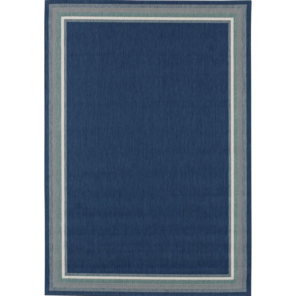 Hampton Bay Border Navy/Aqua 5 Ft. X 7 Ft. Indoor/Outdoor