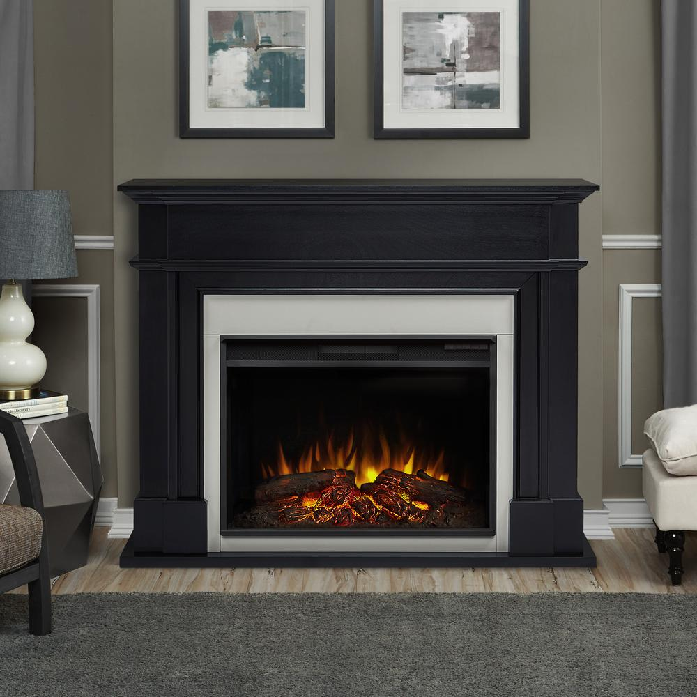 Real flame harlan grand 55 in electric fireplace in black for Dark fireplace mantel