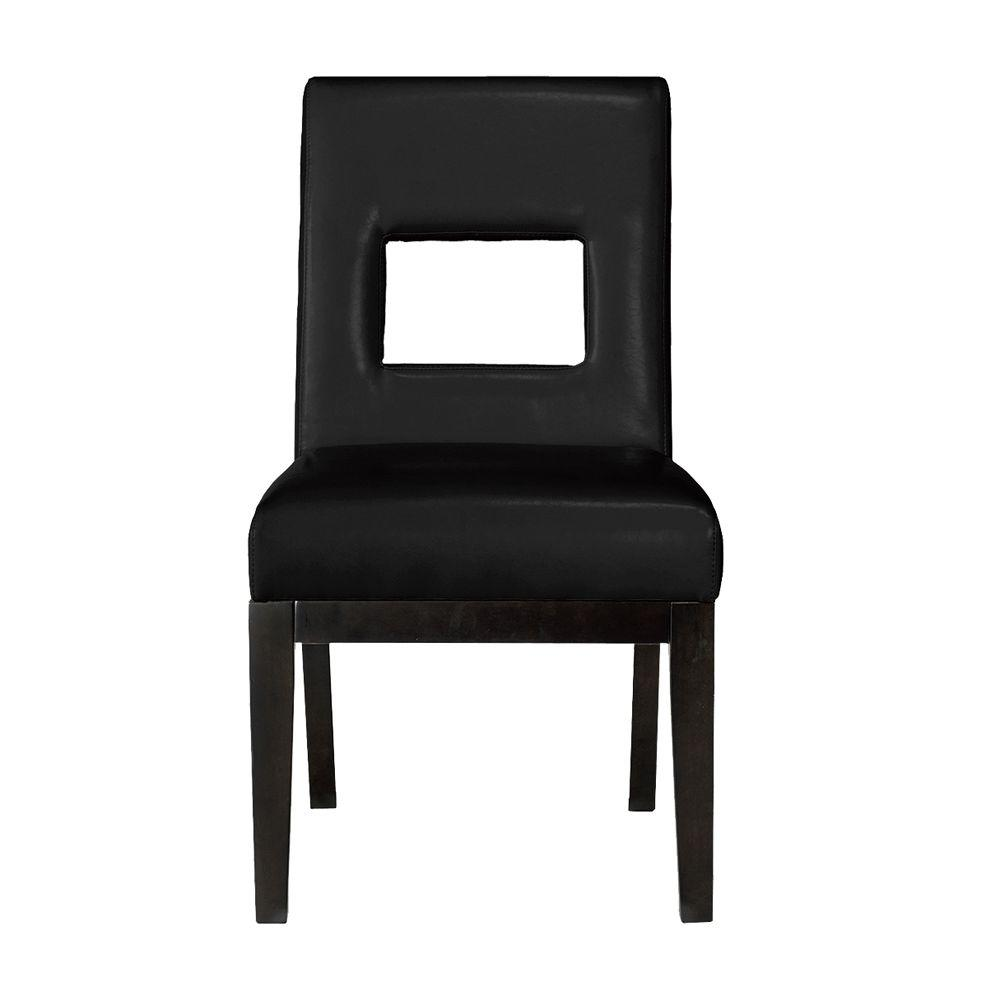 Home Decorators Collection Oscar Bonded Leather Dining Chair in Black