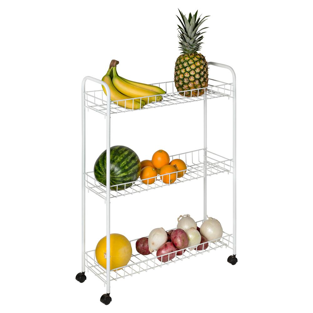 Honey-Can-Do 3-Tier White Laundry Cart