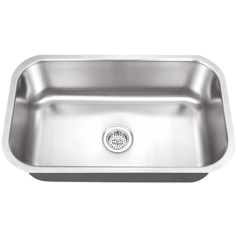 Undermount 30 in. 16-Gauge Stainless Steel Kitchen Sink in Brushed Stainless