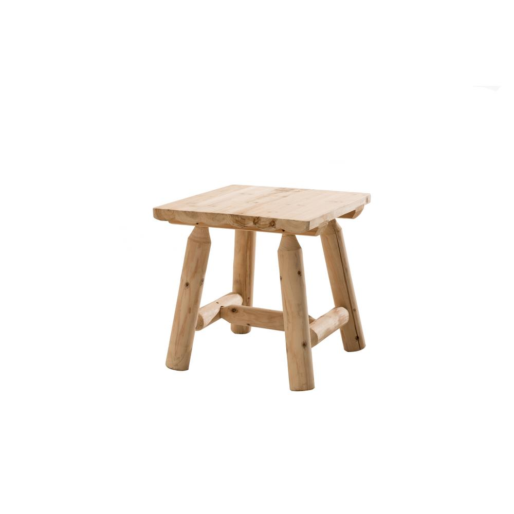 Sunjoy Church Wood Natural Brown Patio Side Table-110206001 - The Home