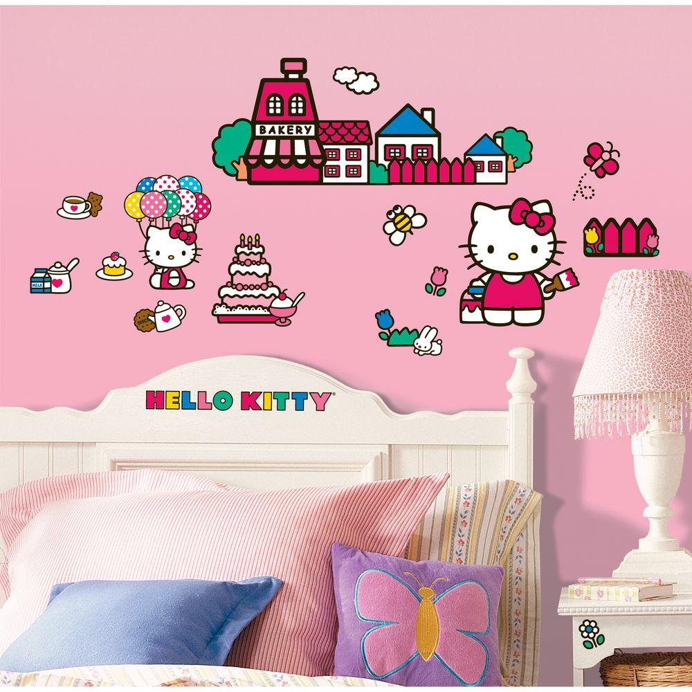 null 10 in. x 18 in. Hello Kitty - The World of Hello Kitty 32-Piece Peel and Stick Wall Decals