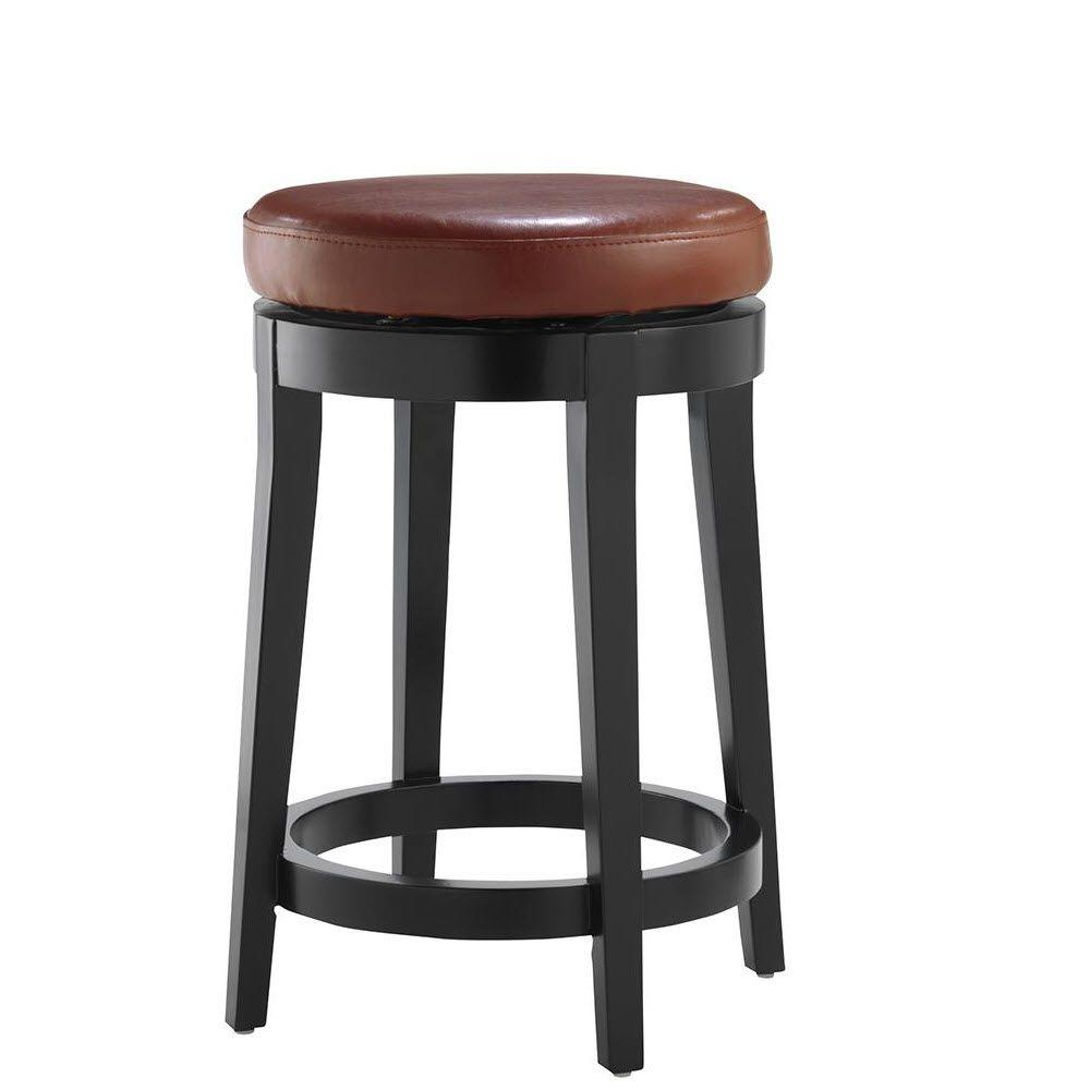 Home Decorators Collection 24 in. Black Swivel Cushioned Bar Stool