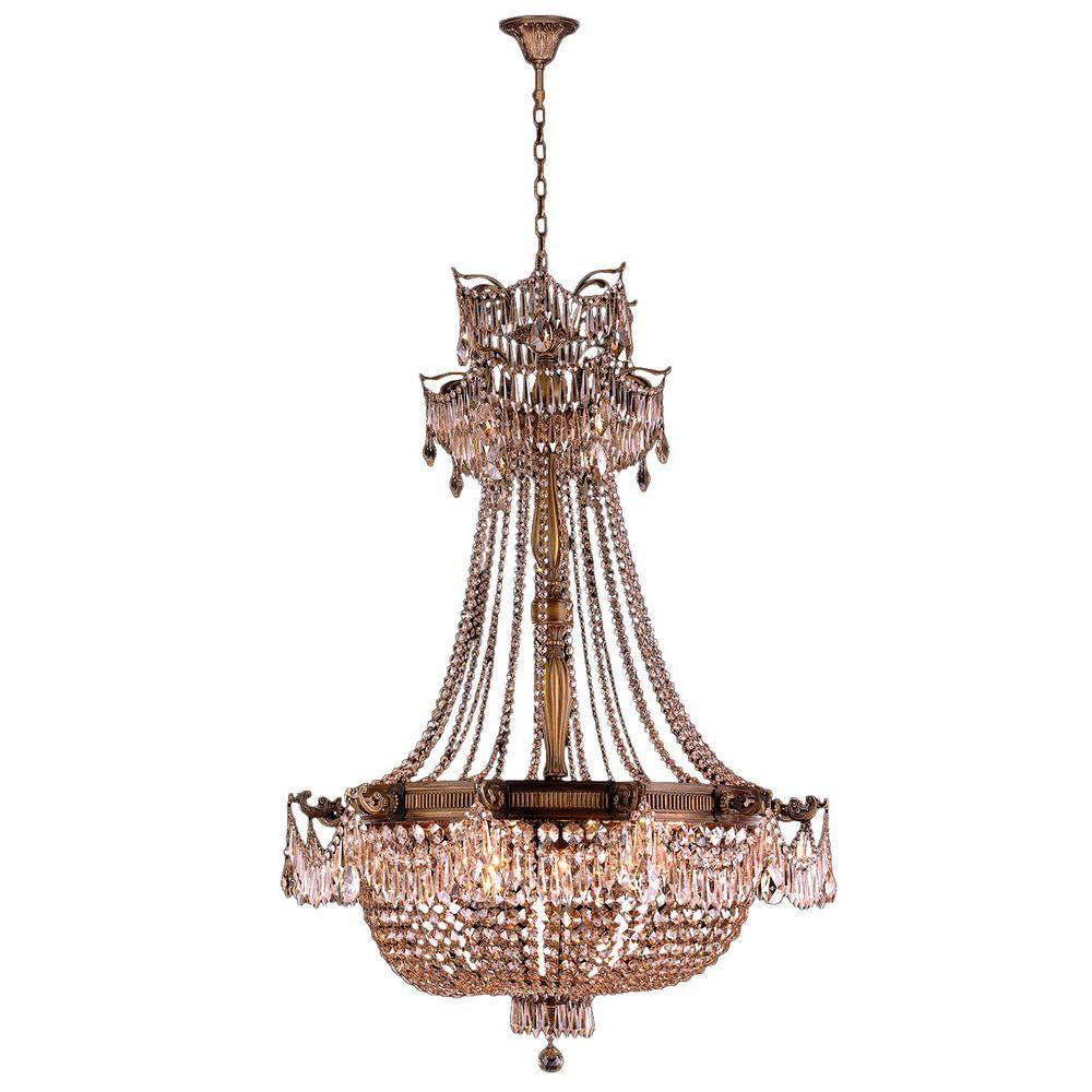 Worldwide Lighting Winchester Collection 18-Light Antique Bronze and Golden Teak Crystal Chandelier
