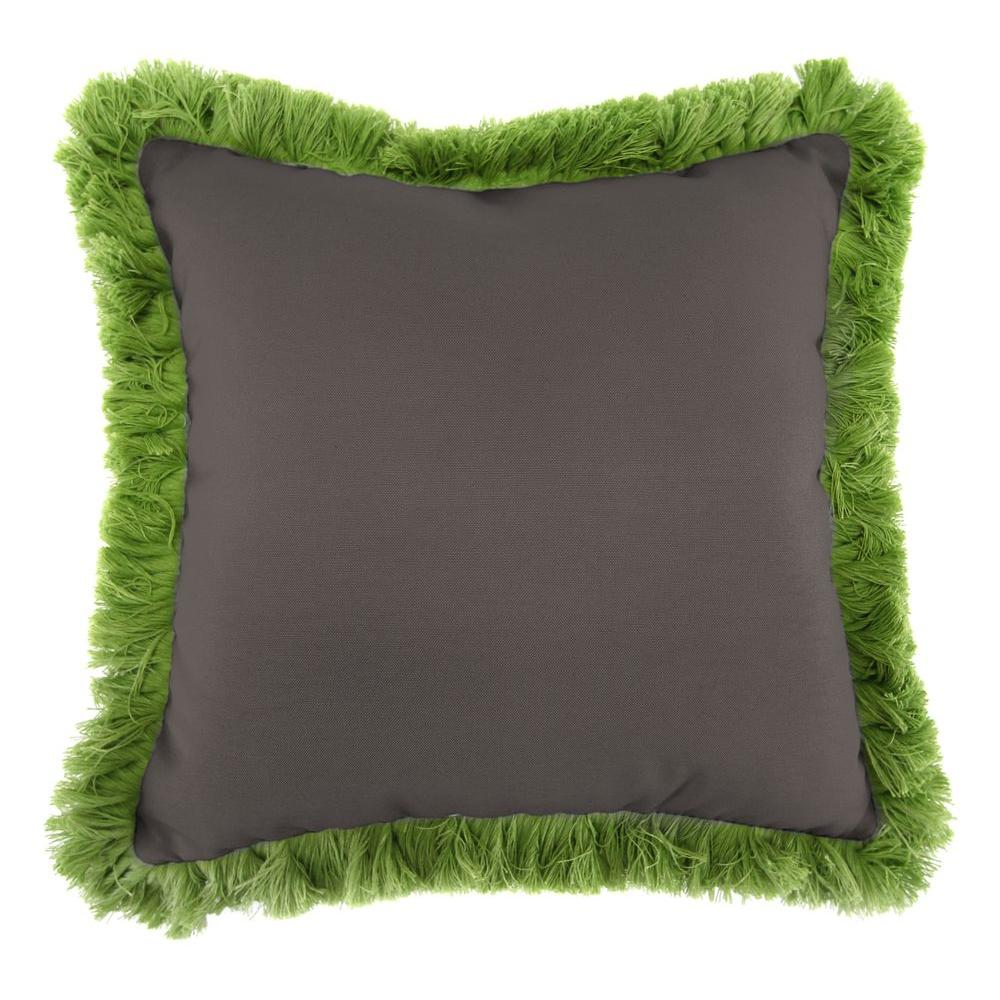 Jordan Manufacturing Sunbrella Canvas Coal Square Outdoor Throw Pillow with Gingko Fringe