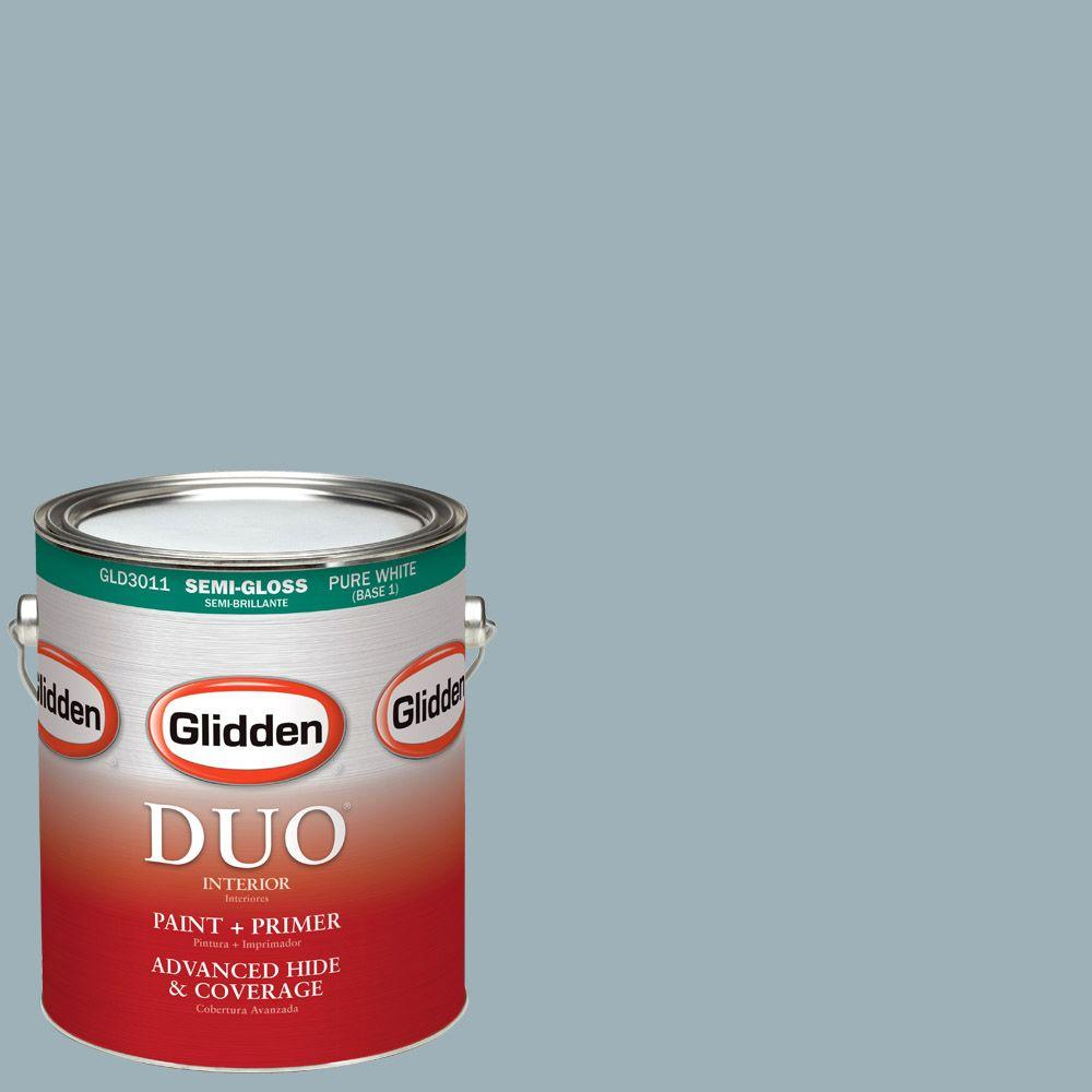Glidden DUO 1-gal. #HDGCN32D Soft Traditional Blue Semi-Gloss Latex Interior Paint with Primer