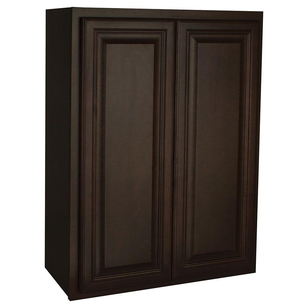 Hampton Bay Assembled 27x36x12 in. Cambria Wall Cabinet in Java-KW2736-CJM -