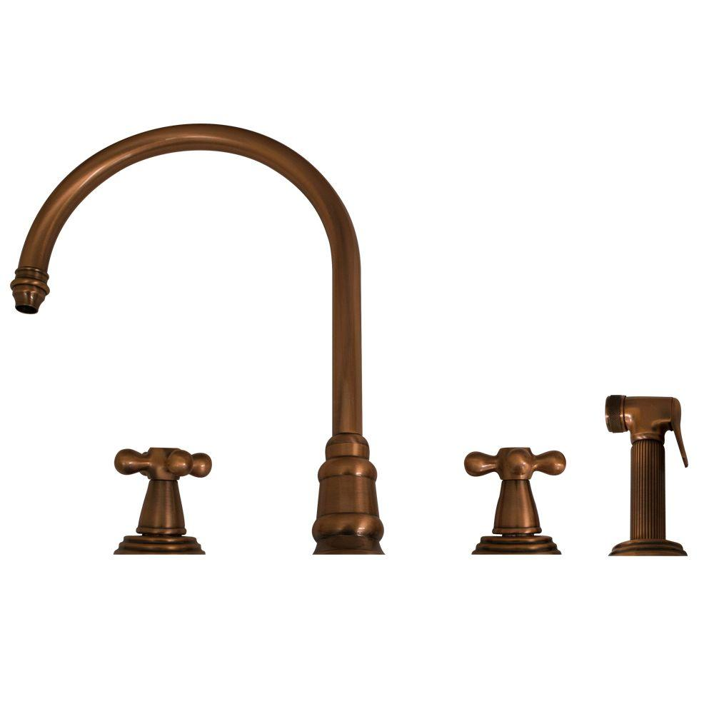 Whitehaus Collection 2-Handle Side Sprayer Kitchen Faucet in Antique Copper