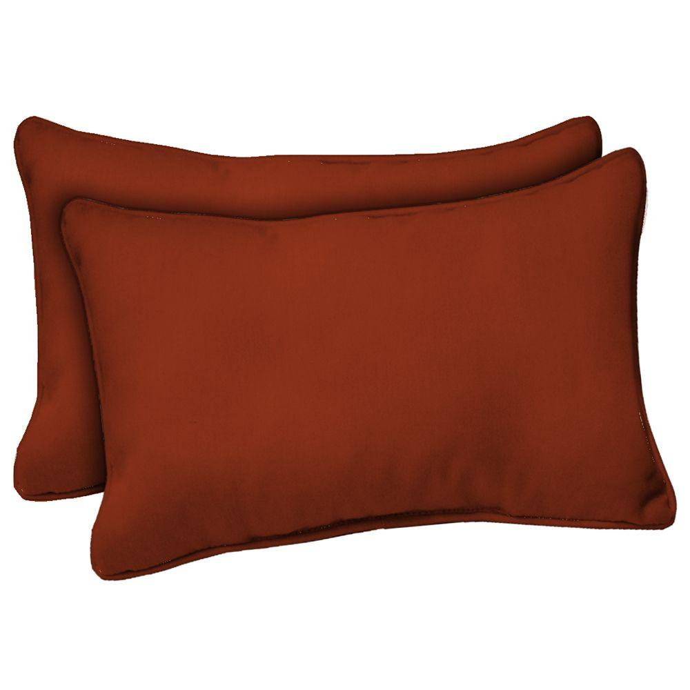 Hampton Bay Chili Red Solid Outdoor Lumbar Pillow (2-Pack)