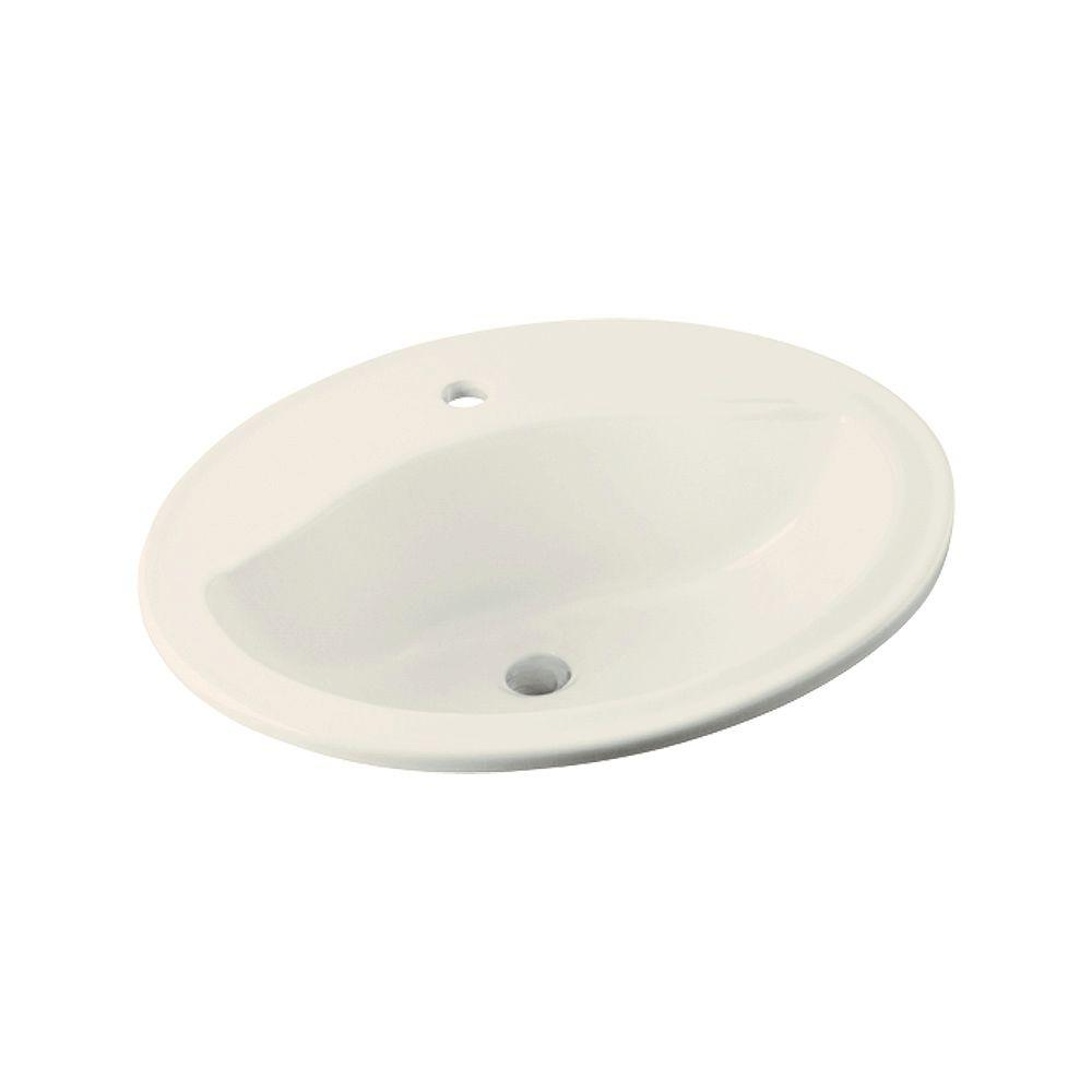STERLING Sanibel Drop-In Vitreous China Bathroom Sink in Biscuit with Overflow Drain