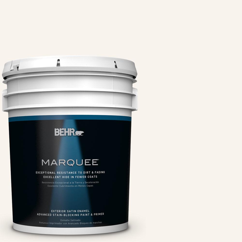 BEHR MARQUEE 5-gal. #W-D-700 Powdered Snow Satin Enamel Exterior Paint