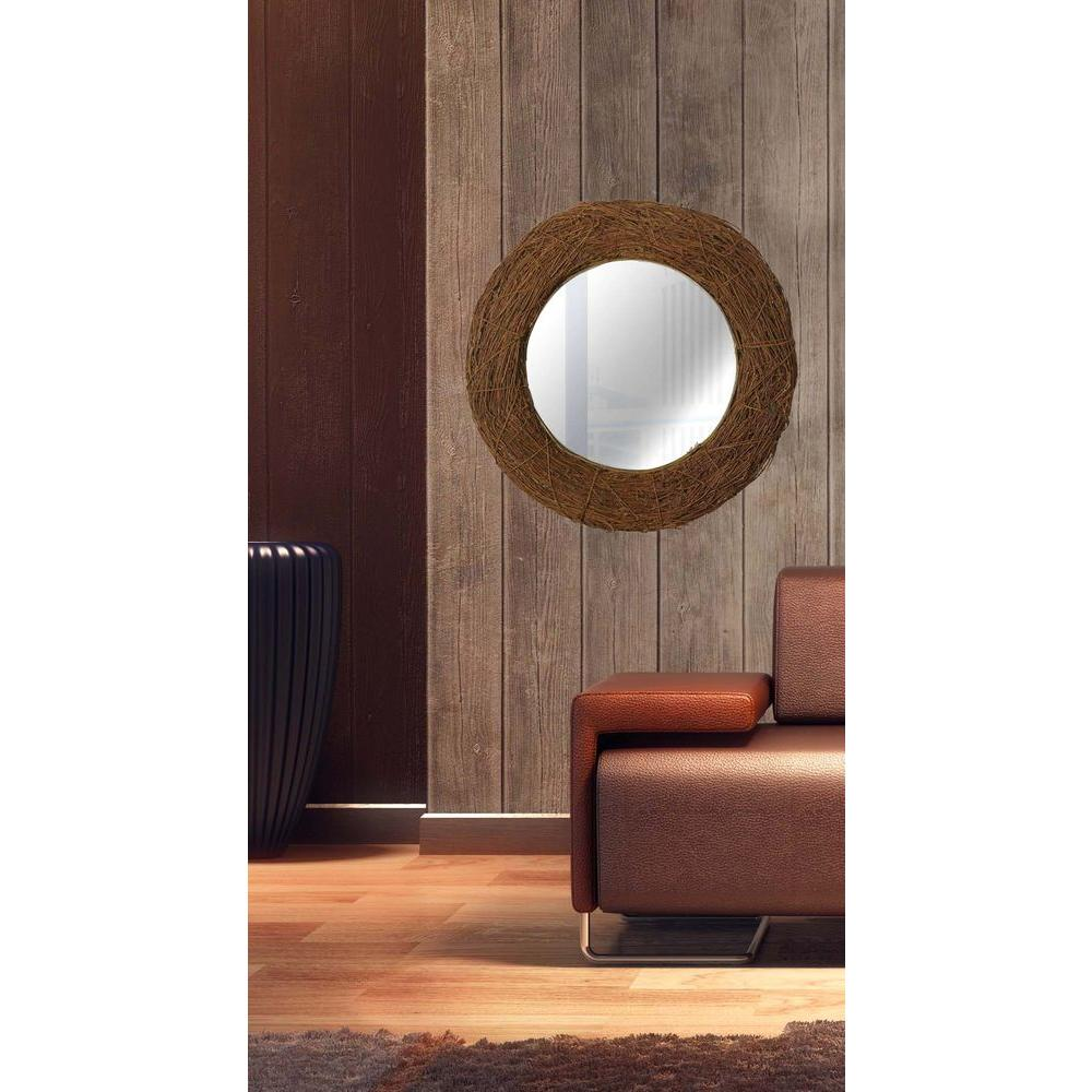 null Harvest 33 in. x 33 in. Round Natural Rattan Wall Mirror