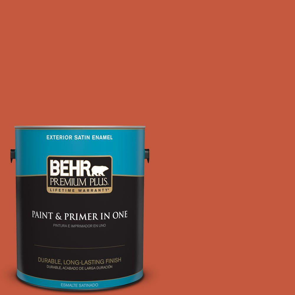 1-gal. #BIC-31 Fire Coral Satin Enamel Exterior Paint