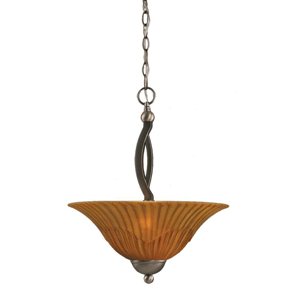 Filament Design Concord 2-Light Brushed Nickel Pendant with Tiger Glass