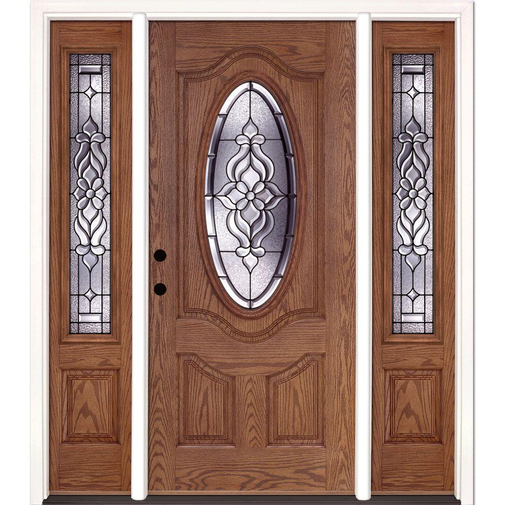 Feather River Doors 63.5 in.x81.625 in. Lakewood Patina 3/4 Oval Lt Stained Medium Oak Right-Hand Fiberglass Prehung Front Door w/ Sidelites
