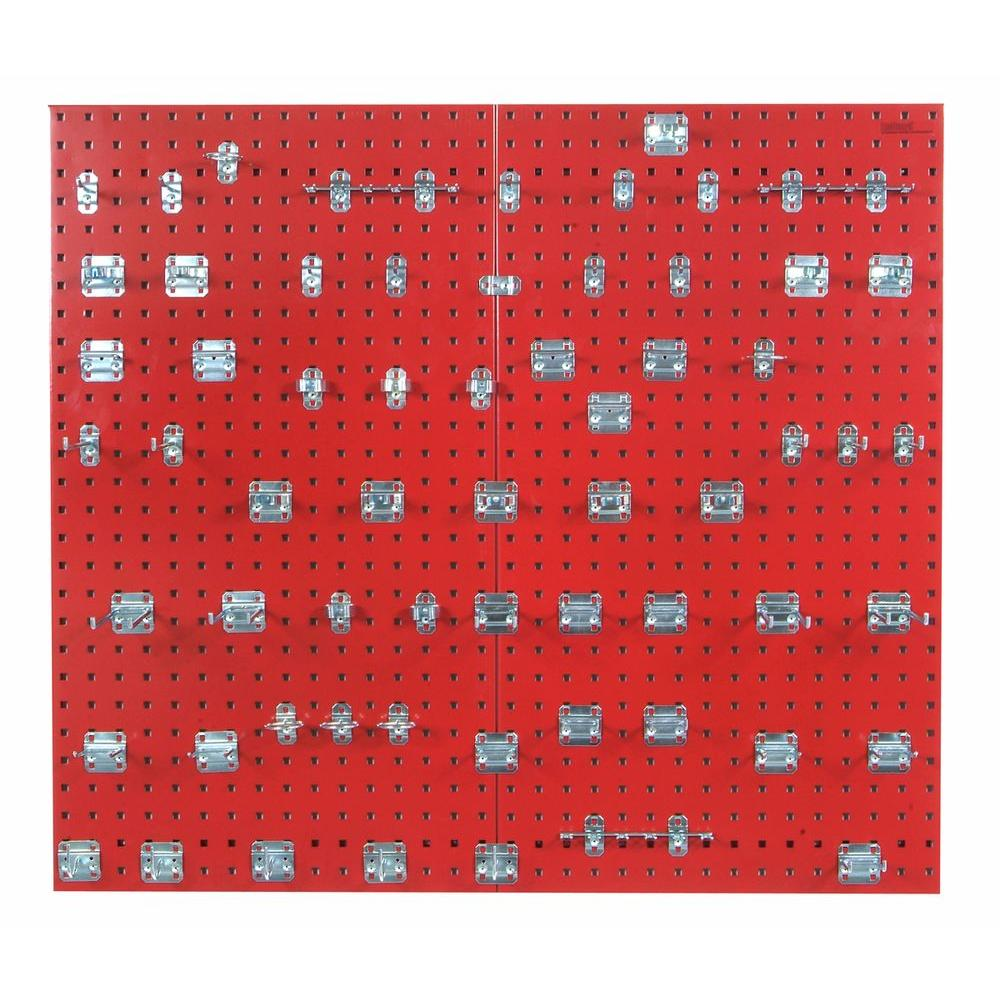 3/8 in. (2) Red Epoxy 18-Gauge Steel Square Hole Pegboards with