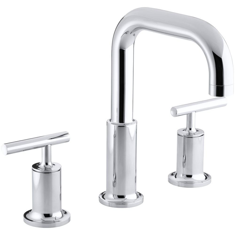 KOHLER Purist Deck-Mount 8 in. Widespread 2-Handle High-Arc Bathroom Faucet Trim in Polished Chrome