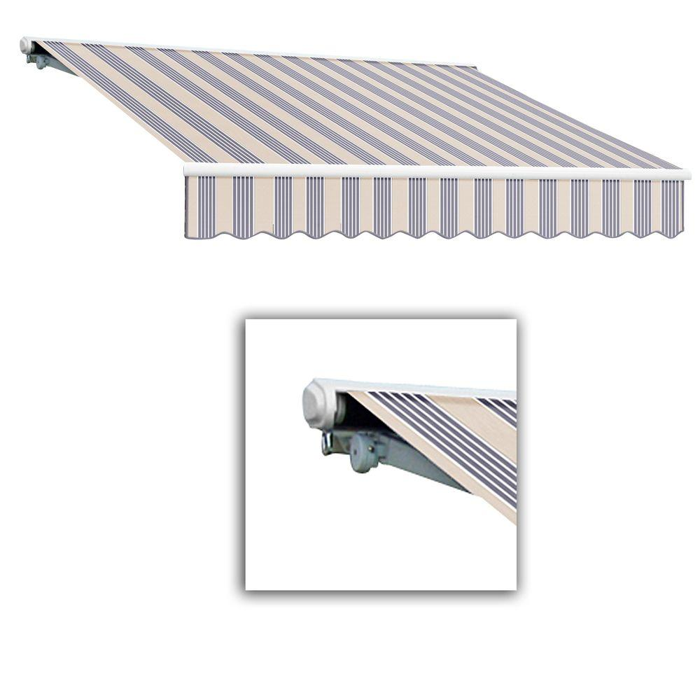 AWNTECH 12 ft. Galveston Semi-Cassette Left Motor with Remote Retractable Awning (96 in. Projection) in Dusty Blue Multi