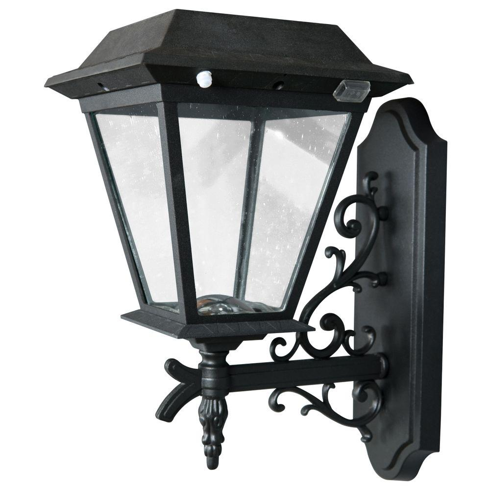 XEPA Stay On Whole Night 300-Lumen Wall-Mount Outdoor Black Solar LED Lamp