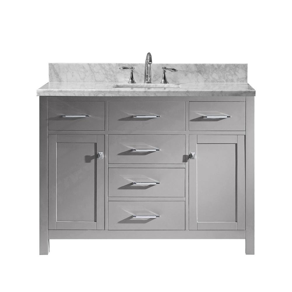 Caroline 48 in. W Vanity in Cashmere Grey with Marble Vanity