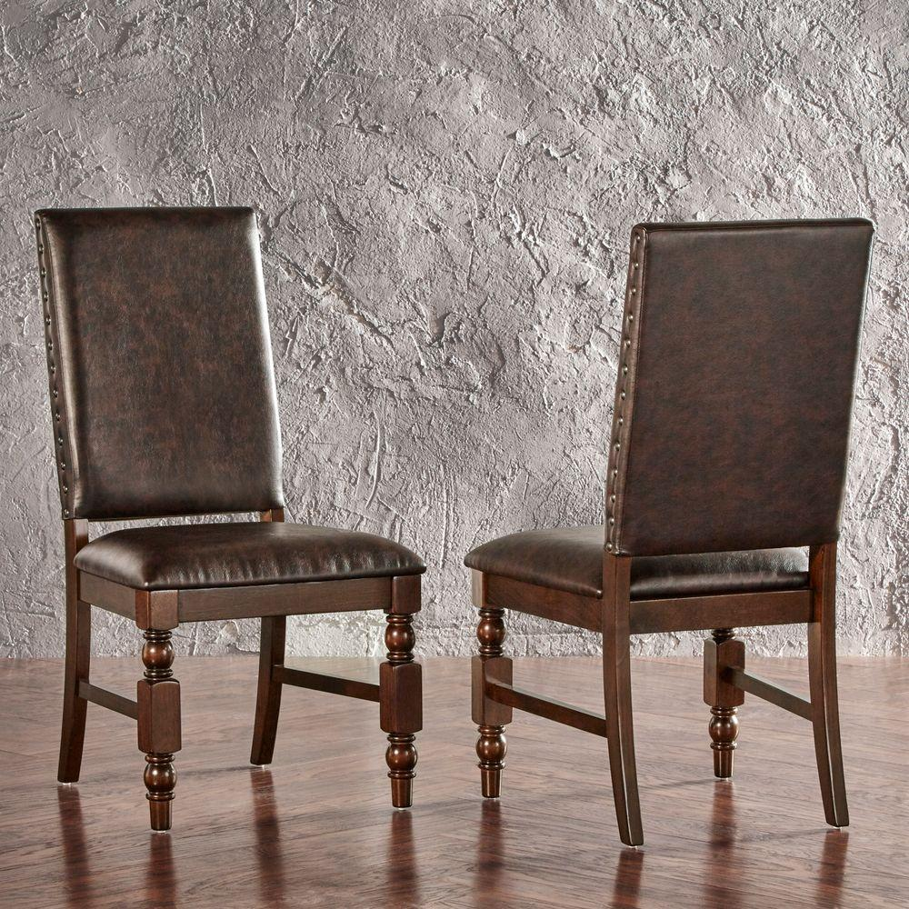 Maxine Chocolate Faux Leather Dining Chair (Set of 2)