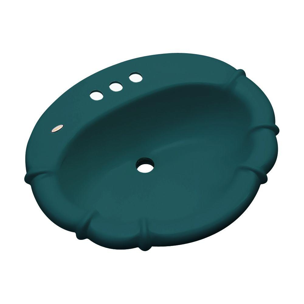Thermocast Magnolia Drop-In Bathroom Sink in Teal (Blue)