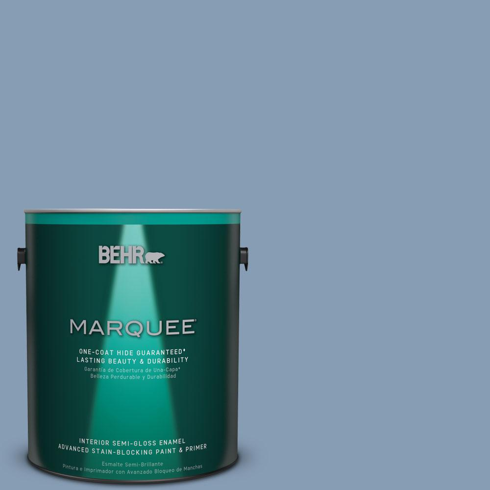BEHR MARQUEE 1 gal. #S520-4 Private Jet One-Coat Hide Semi-Gloss Enamel