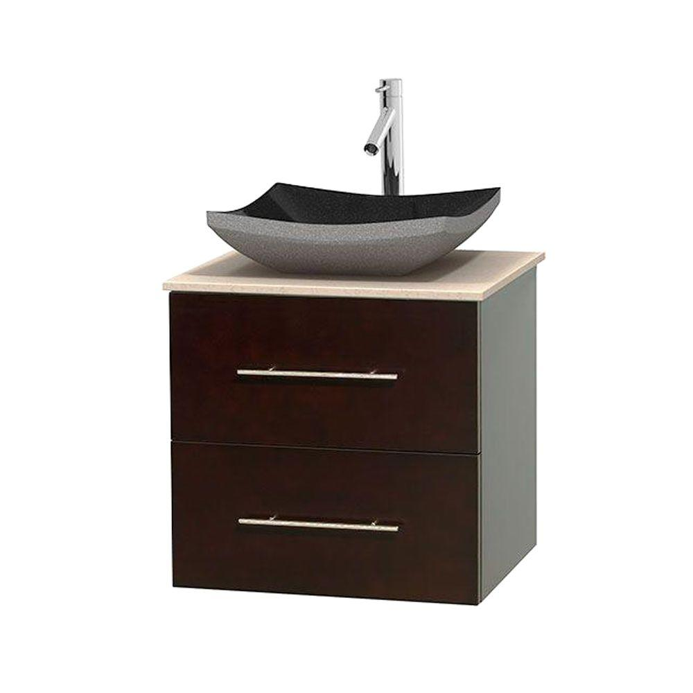 Wyndham Collection Centra 24 in. Vanity in Espresso with Marble Vanity Top in Ivory and Black Granite Sink