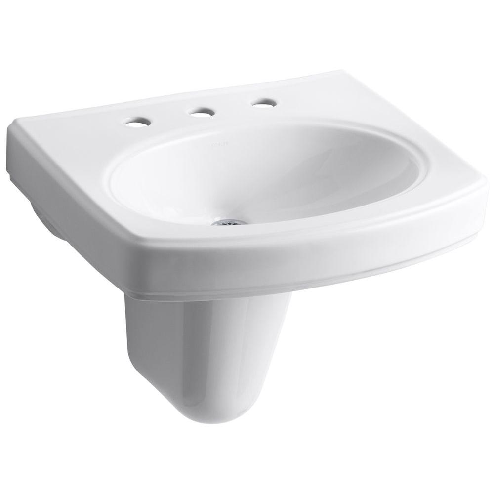 KOHLER Pinoir Wall-Mount Vitreous China Bathroom Sink in White with Overflow
