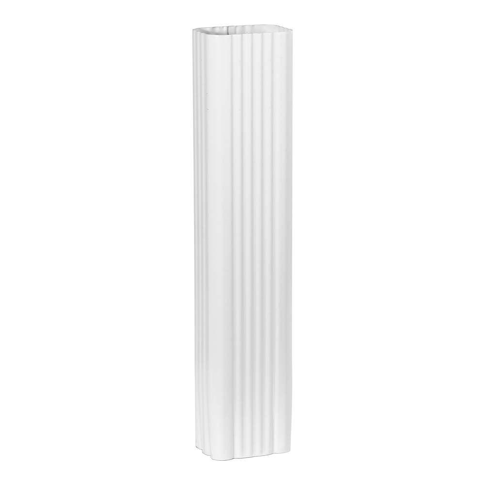 2 in. x 3 in. x 15 in. White Steel Downspout