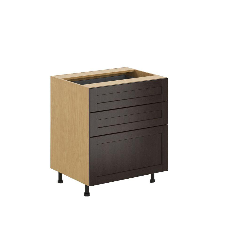 Ready to Assemble 30x34.5x24.5 in. Barcelona 3-Drawer Base Cabinet in Maple Melamine and Door in Dark Brown, Melamine Maple